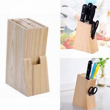 Wood Knife Holder Block Scissor Slot Storage Rack Wooden Kitchen Organizer Tool