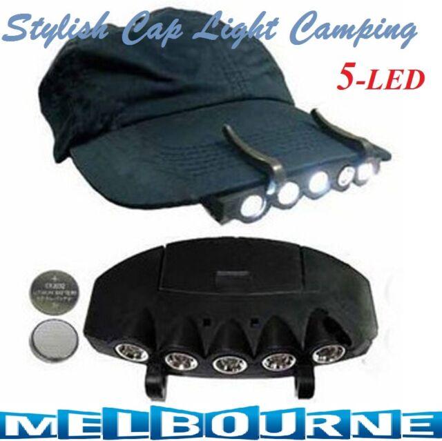 5 LED Cap Hat Brim Clip Lamp Head Light Headlight Headlamp ... bd6f570533d9