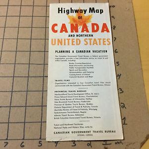 Original Vintage Map -- 1955 highway map of CANADA & Northern US ...