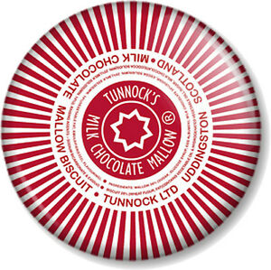 Tunnocks Tea Cakes Dark Chocolate Wrapper Badge 25mm 1 Badge Novelty Message Badges Collectables