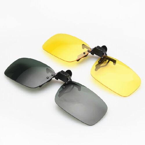 UV400 Sunglasses Polarized Clip On Flip-up Driving Glasses Night Vision Lens