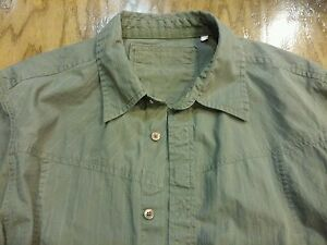 Guess-Olive-Green-men-039-s-size-L-cotton-casual-button-shirt-long-sleeve