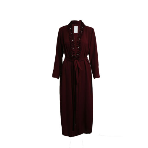 Mujer señoras con cinturón Frente Abierto Cárdigan Acanalada Perlas Cuello Dubai Abaya Jilbab