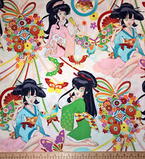 BY YARD-Miss Butterfly Asian Anime Style Pin Up Girls M6564A White
