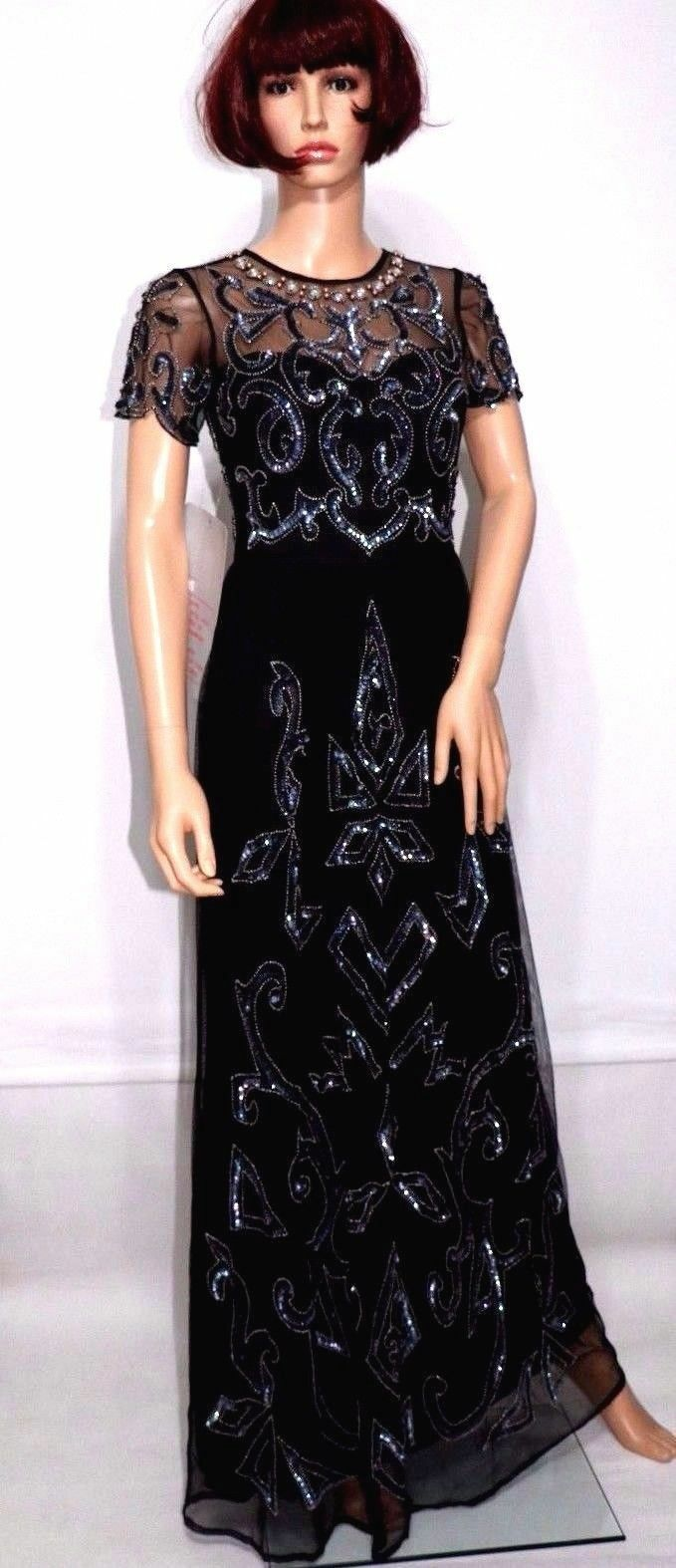 ASOS Embellished Pretty Gothic Maxi Evening Party Cocktail Dress  UK8 EU36