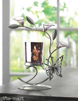 Purple Glass Butterfly Flower Modern Art Statue Tea-light Metal Candle Holder
