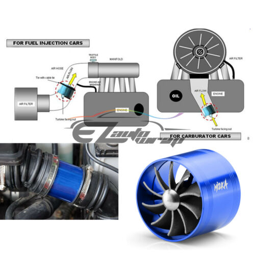 "Mi2KA Turbine Air Intake Fuel Gas Saver Single Fan System Turbo 2.5/""-3.0/"" Blue"