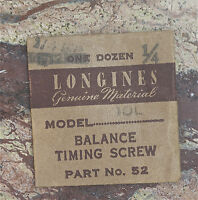 Vintage Longines 10l Watch Balance Timing Screw Swiss Longines Watch Part 52
