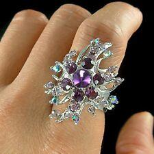 PURPLE w Swarovski Crystal Bridal Wedding ~STARBURST~ Party Adjustable Ring Xmas
