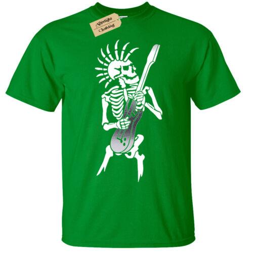 Enfants Garçons Filles Punk Squelette T-Shirt Guitare Rock Gothique Tête de Mort