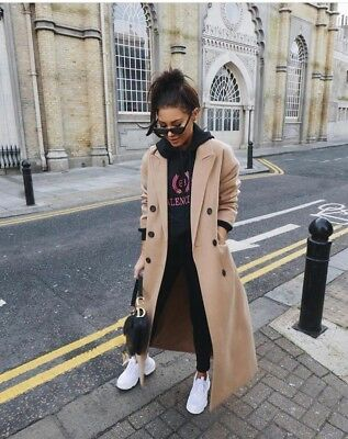 store wholesale price classic chic Topshop Camel Military Double Breasted Winter Warm Long Midi Jacket Coat 6  - 16 | eBay