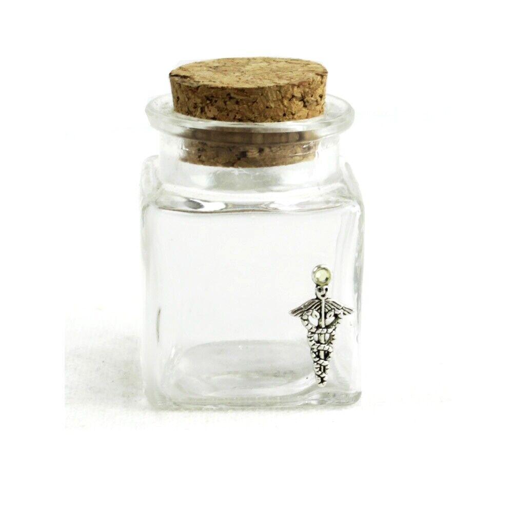 DLM72_27207 (72 pezzi) Barattolo in Vetro Quadrato Caduceo Laurea in Farmacia Se