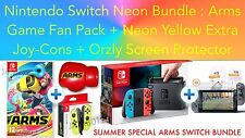Nintendo Switch Console Neon BUNDLE+ARMS + Extra Neon Yellow Joy-Cons, Protector