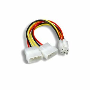 8-034-4Pin-Molex-x2-to-PCI-E-Express-6-Pin-DC-Cable-Adapter-Video-Card-Power-Supply