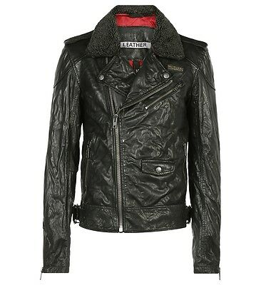 NEW Superdry Fashion Men's motorcycle coats Track Biker jacket washed leather