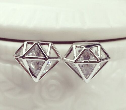 3D Hollow Crystal Boucles d/'oreille Fashion Cute Diamond-Forme Oreille Bijoux 1 Paire
