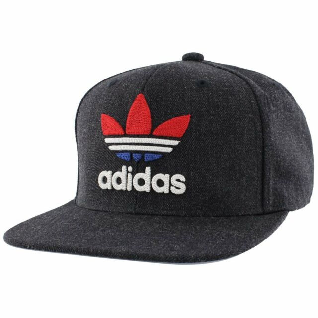 Men s adidas Originals Trefoil Chain Snapback Hat Heather Navy Red White 996be434e84