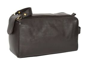 Image Is Loading Real Leather Wash Bag For Mens Shaving Kit