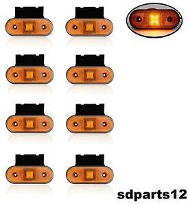 24 V autocarro per camion 12 V colore: arancione confezione da 6 con supporti Luci a 4 LED rimorchio caravan