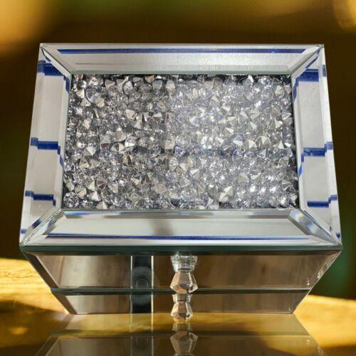 Suelto 2 cajones Espejo de Plata Diamante Joyería Caja Joyero Cristal Caja de la Baratija Regalo