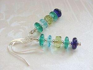 Beach-Earrings-Minimalist-Cobalt-Blue-Aqua-Emerald-Green-Glass-Collector-Gift