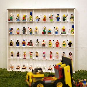[NEW] 50 Brick Mini Figure Display Case for  collection with Sliding Door_white