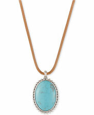 NWT Lucky Brand Silver-Tone Leather Cord Large Blue Stone Pendant Necklace
