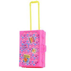 "1x Pink Plastic Suitcase Travel Bag Luggage For Barbie Sized 11"" Dolls UK Seller"