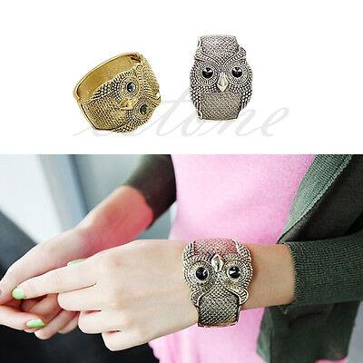 Retro Black Vintage Crystal Eye Big Owl Cuff Bangle Silver Coppery  Bracelet Hot