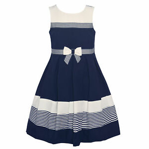 98be10cb06 Bonnie Jean Big Girls Navy White Stripe Bow Sleeveless Sailor Dress ...