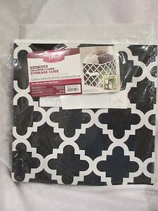 Better Homes And Gardens Collapsible Fabric Storage Cube Black Trellis New Ebay