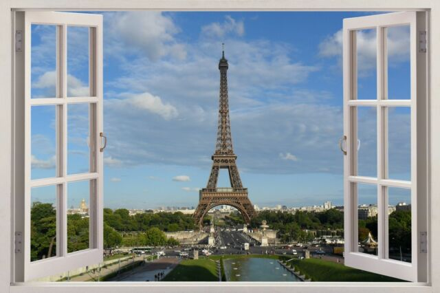 3D window Huge Wall Sticker Mural wallpaper decor Paris Eiffel Tower decal W12