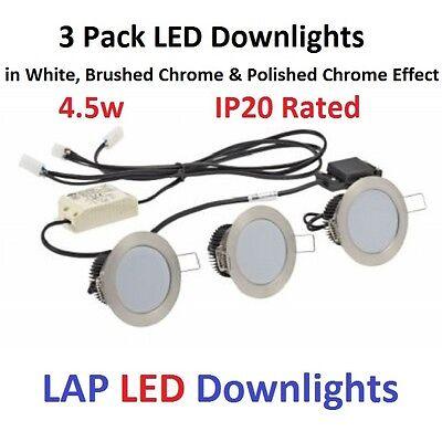 LAP Fixed LED Downlight Kit 320lm White 4.5W 240V 3 Pack