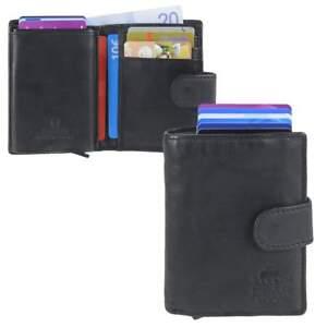 Bear-Design-Kartenetui-Geldboerse-Leder-Geldbeutel-Portemonnaie-Miniboerse-schwarz