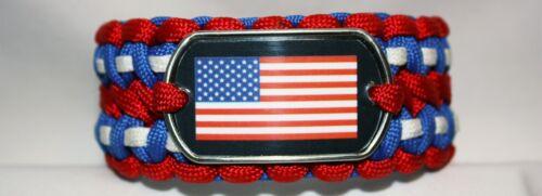 Patriotic USA Flag Paracord Survival Bracelet