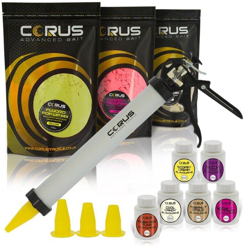Pop-Ups Boilie Gun Set enthält Gun, Funnels, FluGold Mix && Aromastoffe Corus Bait