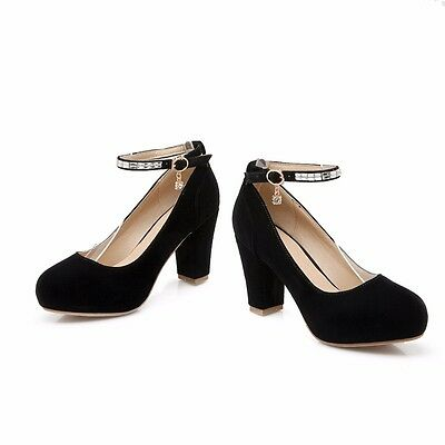 Womens Leather Platforms High Block Heels Ankle Straps Pumps Casual Solid Shoes