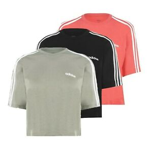 Ladies-Adidas-Casual-Lightweight-Stripe-Crew-Top-Crop-T-Shirt-Sizes-from-8-to-22