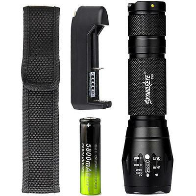 10000 LM XML T6 Zoom Tactical LED Flashlight Torch Lamp+18650 Battery+Charger GR