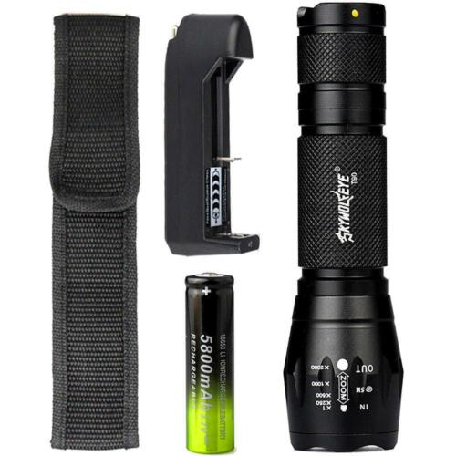 40000 LM  LED Flashlight T6 Zoom Tactical Torch Lamp+18650 Battery+Charger SN