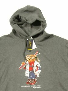 Ralph-Lauren-Men-039-s-SZ-XL-Charcoal-Gray-Ski-Polo-Bear-Fleece-Pullover-Hoodie