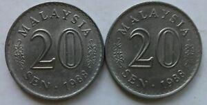 Parliament Series 20 sen coin 1988 2 pcs