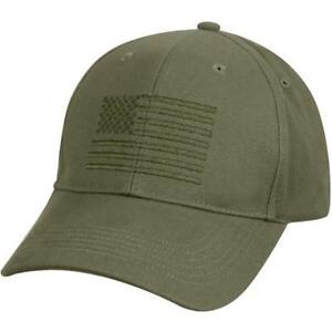 OD US USA Flag Low Profile Olive Drab Baseball Cap Hat Ballcap Rothco 99880 8e8703e05f9