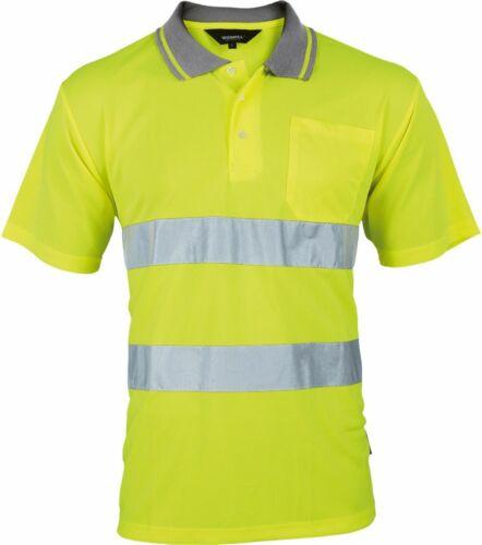 Warnschutz Sicherheits Poloshirt  kurzärmelig  atmungsaktiv leuchtgelb