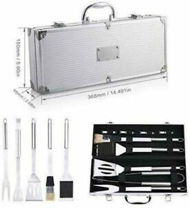 BBQ Barbecue Tool Set Grill Grilling Tools Accessory Stainless Steel 9 Pieces US