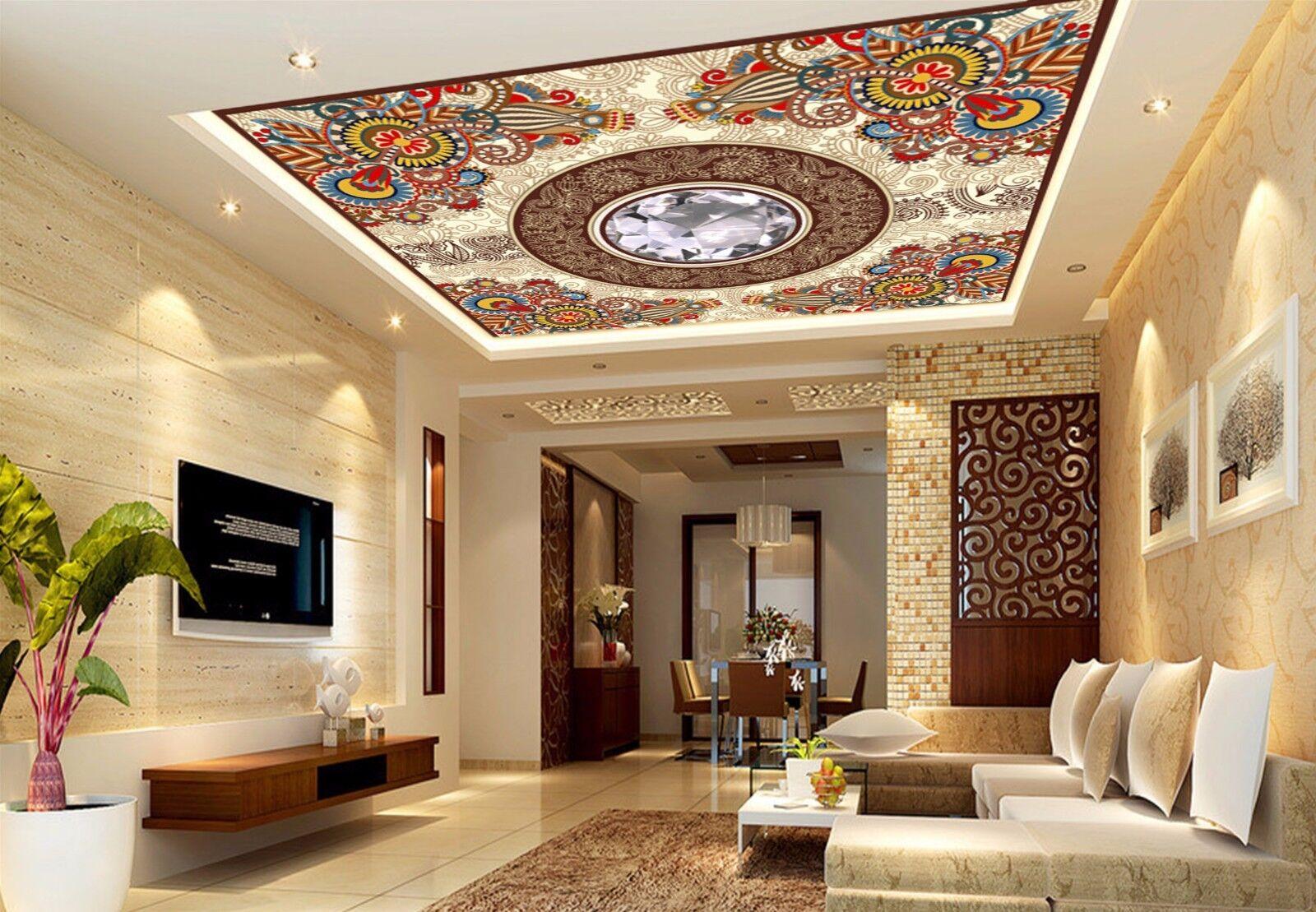 3D Diamond Pattern 8 Ceiling WallPaper Murals Wall Print Decal Deco AJ WALLPAPER