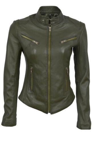 vert Biker Veste Lucylle Designer Ladies style en d cuir de olive Mode qxC06FnC