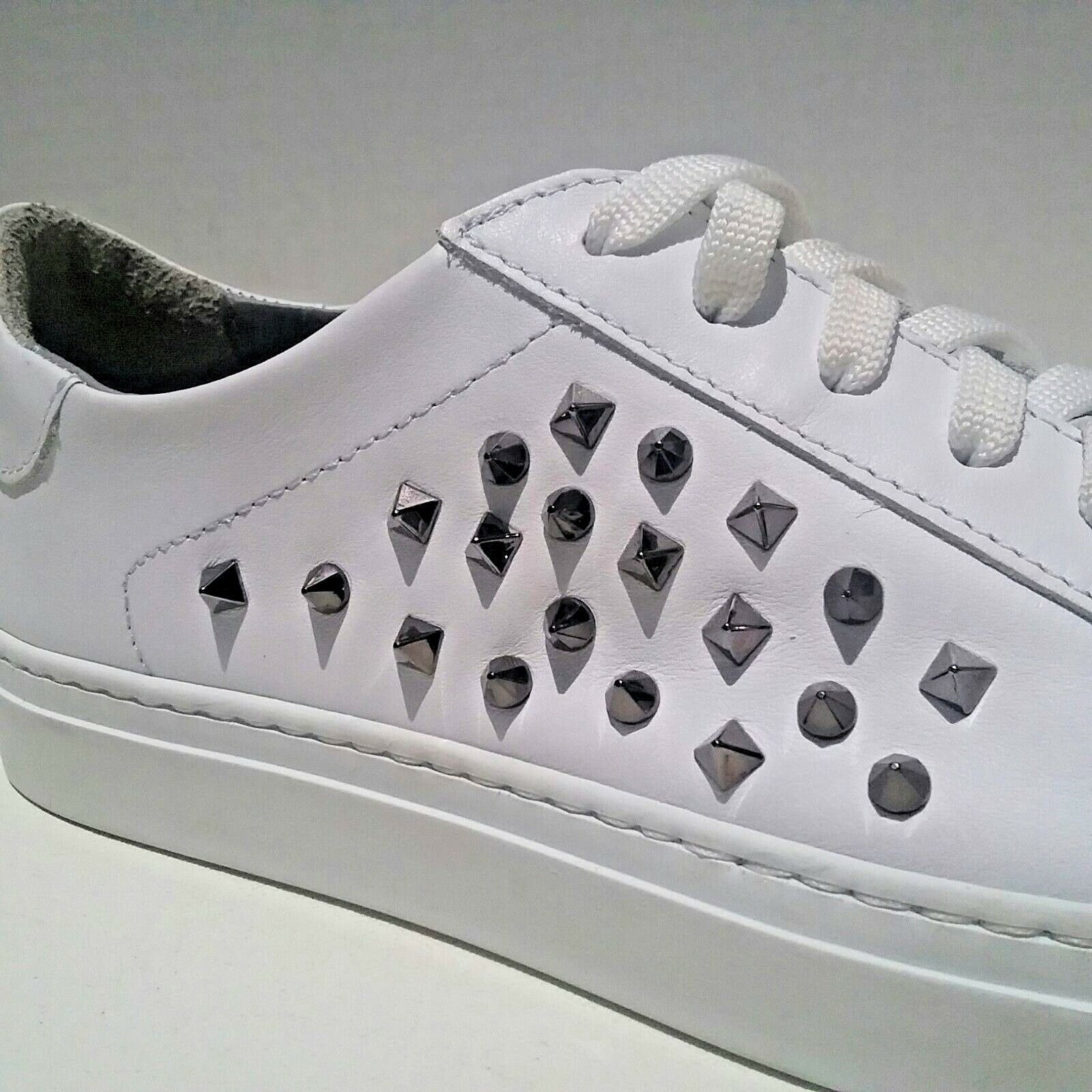 Boemos Italia Mujer Tamaño Cuero Euro 40 Cuero Tamaño blancoo Pirámide tachonado con Cordones Zapatillas b5f78a