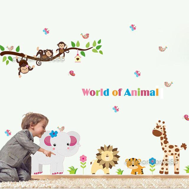 jungle zoo safari animals wall stickers nursery boys kids room decor