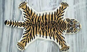Hand Tufted Wool Carpet Baby Animal Tiger Skin Area Rug 2'x3' Feet DN-2115